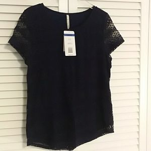 NWT! Leo & Nicole Navy Blue Short Sleeve Blouse